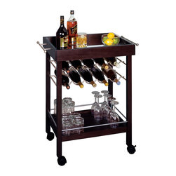 Winsomewood - Bar Cart, Mirror Top, Wine Rack - This wheeled wine cart holds everything necessary for a portable bar. It can store ten bottles of wine in its upper racks, and also has a lower shelf to hold more bottles and glasses. The top shelf is perfect for resting full glasses and plates of appetizers.