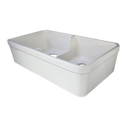 """ALFI brand - White 32"""" Short Wall Double Bowl Fireclay Farmhouse Kitchen Sink with 1 3/4"""" Lip - ALFI brand fireclay farm sinks are a throwback to a simpler time. Designed to offer the traditional popular look of an apron farm sink with a contemporary twist. Made of the highest quality solid fireclay to insure it not only looks great but also lasts for a very long time."""