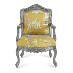 Massoud Danbury Bergere Chair - Exclusively ours. Talk about the WOW factor! This Louis XV-style bergere chair takes on bohemian savoir faire with elephant-print upholstery. The contrast between the distressed, carved frame and the eye-popping upholstery is nothing short of amazing.