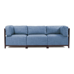Howard Elliott - Coco Axis 3pc Sectional - Mahogany Frame - A Fashionable Trio! Lounge in style on a Coco Axis 3pc Sectional will intoxicate your room with its uplifting style. Float the Coco Axis 3pc Sectional in your room for an intimate seating arrangement. This Chair features boxed cushions with Velcro attachments to keep the cushions from slipping and looking their best all of the time. The steel frame is available in 3 finishes allowing you to choose a frame to best accent your Coco color. Your Coco Axis 3pc Sectional will definitely turn heads with its sophisticated wool-like texture and tonal color selection.