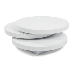 Moe's Home Collection - Torno Coffee Table White - White Lacquer Round Coffee table. The top 2 levels swivel 360 degrees.