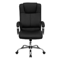 Flash Furniture - High Back Black Leather Executive Office Chair - This leather upholstered high back chair provides a professional appearance to complement your office or home. The raised headrest and leather padded inset arms make this executive chair very attractive. Update your current office chair with this black leather Executive Chair from Flash Furniture.