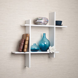 Danya B - Asymmetric White Laminate Square Floating Wall Shelf - Decorative wall shelf shows 4 asymmetric sides to a square which intersect and connect with each other. Made of laminated MDF,it attaches to the wall with two keyhole perforations,which secure to nails or screws showing no visible hardware.