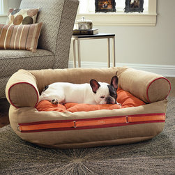 "Frontgate - Runway Couture Pet Bed Dog Bed - Reversible tufted cushion with lofty spun-polyester fill. Especially beneficial for older pets with arthritic and orthopedic conditions. Inside, a 1-1/2""-thick orthopedic foam cushion and lofty spun-polyester fill relieve pressure points and provide support; view diagram. Removable microlinen cover is machine washable. The name badge in the front can be personalized with up to 10 letters. Our Runway Couture Pet Bed takes stylish pet beds to a whole new level. Featuring linen on one side and a coordinating solid fabric on the other, the reversible tufted cushion is generously stuffed with lofty spun-polyester fill and topped with 1/2"" of orthopedic foam for exceptional comfort and support. . .  . . . Cover for outside of comfy couch is removable and machine washable; view washing instructions. Please measure your dog accordingly."