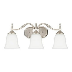Quoizel Tritan TT8743 Bath Fixture - 22W in. - Go ahead and add a little extra style to your morning bath routine with the Quoizel Tritan TT8743 Bath Fixture - 22W in.. With a simple yet elegant aesthetic, this three-light bath fixture is available in your choice of fashionable finishes - choose brushed nickel for a lighter look or dark copper bronze for something delightfully dark. Each finish highlights the steel frame's attractive detailing, and the bell-shaped white opal glass shades soften and diffuse the light. Just add three of your own 100-watt medium base bulbs (not included) to get glowing.About Quoizel LightingLocated in Charleston, South Carolina, Quoizel Lighting has been designing timeless lighting fixtures and home accessories since 1930. They offer a distinctive line of over 1,000 styles, including chandeliers, lamps, and hanging pendants. Quoizel Lighting is the perfect way to add an inviting atmosphere to any area in your home, both indoors and out.