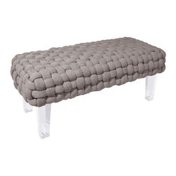 Rojo16 - Plaited Bench Grey - Rojo 16 Cote D'Azure Plaited Bench is more than comfortable with its exclusive furniture creates a strong focal point and a dramatic impression in a room. This bench with an elegant hint of the French Riviera and its luxurious lifestyle is made with woven-upholstery top . This stylish bench stands on clear-acrylic legs that will perfectly shine and give uniqueness to your room. Avalable in three colors