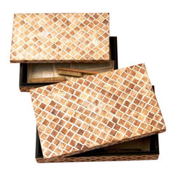 Two's Company - Naturals Set of 2 Bone Mosaic Boxes - Two's Company Naturals Set of 2 Bone Mosaic Boxes Bone/Sheesham Wood