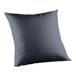 Patch Quilts - Blue and Ecru Gingham Fabric Toss Pillow 16 x 16 Inch - Home spun  yarn dyed fabric throw pillow  - complements with Patch Magic brand quilted line  - Machine washable  Line or Flat dry only Patch Quilts - TPW025C