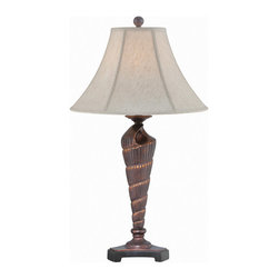 Lite Source - Lite Source LS-22419 Conch 1-Light Table Lamps in Dark Bronze Sea Shell - Table Lamp, Dark Bronze Sea Shell/off-white Fabric, E27 CFL 23W