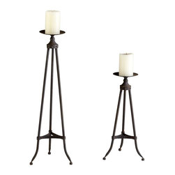Cyan Design - Cyan Design Large Milton Candlestick X-22940 - This Cyan Design candlestick from the Milton Collection pairs a larger size with simple tripod styling. The tripod base has been made out of metal, with rivets and clean lines for an industrial look. Raw Steel finishing pulls this surprisingly elegant design together.