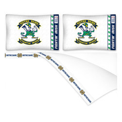 Sports Coverage - NCAA Notre Dame Fighting Irish Football Queen Bed Sheet Set - Features: