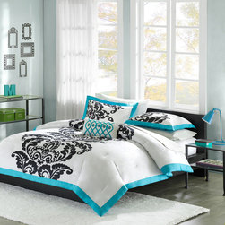 Mizone - Mizone Florentine Comforter Set - Florentine is a beautiful bed set mixing white, teal, and black in a striking way. The background of the comforter is a bright white with a large black damask motif running up the center, paired with a teal flange around all edges. The reverse is a solid teal that gives this set a pop of fun without looking too young. This bed set would work perfectly for any young girl looking for a more grown up look to her room. Comforter/Sham: 100% cotton, printed, 100% brushed polyester reverse, 200g polyester filling Pillow: polyester cover and polyester filling