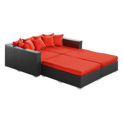 Modway - Palisades 4 Piece Daybed in Espresso Red - EEI-613-EXP-RED-SET - Set insludes 2 ottomans, 1 left side chaise,1 right side chaise and pillow
