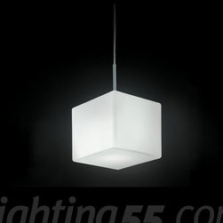 Itre - Cubi 16 Suspension Lamp - The Cubi Suspension Lamp from ITRE has been designed by Ufficio Stile in 2000. This Suspension Lamp is great for Halogen lighting. The Cubi is composed of a white satin finished diffuser made of layered and blown glass. The structure of this light is constructed of grey lacquered metal.