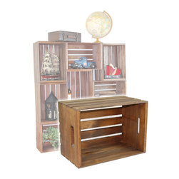 "Quickway Imports - Antique Style Wooden Crates, Easy to Stack for Decorative Shelving - Size: 18"" x 12.5"" x 9 3/8""."