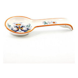 Artistica - Hand Made in Italy - RICCO DERUTA: Spoon Rest (Wall hung ready) - RICCO DERUTA: This product is part of the renown Ricco Deruta Collection.