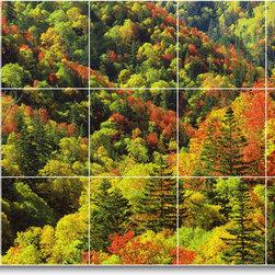 Picture-Tiles, LLC - Trees Leaves Photo Kitchen Tile Mural T043 - * MURAL SIZE: 18x30 inch tile mural using (15) 6x6 ceramic tiles-satin finish.