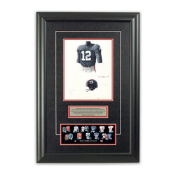 "Heritage Sports Art - Original art of the NFL 1962 New York Giants uniform - This beautifully framed piece features an original piece of watercolor artwork glass-framed in an attractive two inch wide black resin frame with a double mat. The outer dimensions of the framed piece are approximately 17"" wide x 24.5"" high, although the exact size will vary according to the size of the original piece of art. At the core of the framed piece is the actual piece of original artwork as painted by the artist on textured 100% rag, water-marked watercolor paper. In many cases the original artwork has handwritten notes in pencil from the artist. Simply put, this is beautiful, one-of-a-kind artwork. The outer mat is a rich textured black acid-free mat with a decorative inset white v-groove, while the inner mat is a complimentary colored acid-free mat reflecting one of the team's primary colors. The image of this framed piece shows the mat color that we use (Red). Beneath the artwork is a silver plate with black text describing the original artwork. The text for this piece will read: This original, one-of-a-kind watercolor painting of the 1962 New York Giants uniform is the original artwork that was used in the creation of this New York Giants uniform evolution print and tens of thousands of other New York Giants products that have been sold across North America. This original piece of art was painted by artist Tino Paolini for Maple Leaf Productions Ltd. Beneath the silver plate is a 3"" x 9"" reproduction of a well known, best-selling print that celebrates the history of the team. The print beautifully illustrates the chronological evolution of the team's uniform and shows you how the original art was used in the creation of this print. If you look closely, you will see that the print features the actual artwork being offered for sale. The piece is framed with an extremely high quality framing glass. We have used this glass style for many years with excellent results. We package every piece very carefully in a double layer of bubble wrap and a rigid double-wall cardboard package to avoid breakage at any point during the shipping process, but if damage does occur, we will gladly repair, replace or refund. Please note that all of our products come with a 90 day 100% satisfaction guarantee. Each framed piece also comes with a two page letter signed by Scott Sillcox describing the history behind the art. If there was an extra-special story about your piece of art, that story will be included in the letter. When you receive your framed piece, you should find the letter lightly attached to the front of the framed piece. If you have any questions, at any time, about the actual artwork or about any of the artist's handwritten notes on the artwork, I would love to tell you about them. After placing your order, please click the ""Contact Seller"" button to message me and I will tell you everything I can about your original piece of art. The artists and I spent well over ten years of our lives creating these pieces of original artwork, and in many cases there are stories I can tell you about your actual piece of artwork that might add an extra element of interest in your one-of-a-kind purchase."