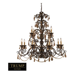 Elk Lighting - Rochelle 12-Light Chandelier with Amber Crystal - Rochelle is a Magnificent Collection featuring elegant amber crystal highlights, scrolling weathered mahogany finished ironwork and intricate castings. Incorporating elements of renaissance design with graceful proportions, rochelle reflects regal design and classic appeal.