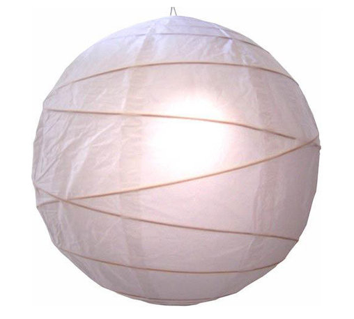 """Oriental-Decor - Innocent White Globe Lantern, 16"""" - White is a passive or yin color in feng shui and represents innocence, purity, trust and ultimate wisdom. It is a great color to combine with other colors, as it matches any hue and lends a clean, crisp feeling to any decorative scene. Hang this lovely white lantern in your home or business for a bright decorative effect."""