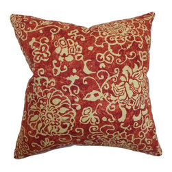 "The Pillow Collection - Jaffna Floral Pillow Russett - Artsy and chic, this floral throw pillow is an ideal statement piece to decorate your living room or bedroom. The intricate floral details come in natural hue and set against a russet red background. This down-filled pillow blends well with solids and other patterns like ikats, geometric, stripes and more. This 18"" pillow is made from a blend of 95% cotton and 5% linen fabric. Hidden zipper closure for easy cover removal.  Knife edge finish on all four sides.  Reversible pillow with the same fabric on the back side.  Spot cleaning suggested."