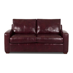Savvy - Boulder Leather Sleeper Sofa, Durango Burgundy - Boulder Leather Full Sleeper Sofa in Durango Burgundy