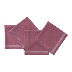 "Coyuchi - Simple Stitch Chambray Napkin Set 20""x20"" Orchid w/Pewter - Linen and cotton yarns, dyed slightly different hues before weaving, lend our napkins soft, nuanced color and great absorption. Stitched stripes run along each edge and cross at the corners."