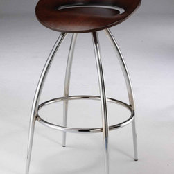 """Creative Images International - Laminated Wood Swivel Barstool (Set of 2) - Features: -Laminated Wood material. -Swivel. -Chrome legs. -Assembly required. -Dimensions: 31"""" Height x 17.5"""" Width x 17"""" Depth."""
