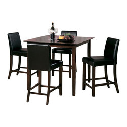Homelegance - Homelegance Weitzmenn Square Counter Height Table in Cherry - The Weitzmenn Collection is a casual dinette set in cherry finish on select hardwoods and veneers. The simplistic elegance of this collection makes it a great addition for any casual dining spaces. Available in 40? square counter height table with dark brown bi-cast vinyl counter height chair, 48? table and 60? table with both olive microfiber and dark brown bi-cast vinyl chairs.
