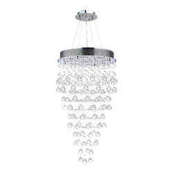 """Worldwide Lighting - Icicle 9 Light Chrome Finish Crystal Rain Drop Chandelier 20"""" x 36"""" - This stunning 9-light Crystal Chandelier only uses the best quality material and workmanship ensuring a beautiful heirloom quality piece. Featuring a radiant Chrome finish and finely cut premium grade clear crystals with a lead content of 30%, this elegant chandelier will give any room sparkle and glamour. Worldwide Lighting Corporation is a privately owned manufacturer of high quality crystal chandeliers, pendants, surface mounts, sconces and custom decorative lighting products for the residential, hospitality and commercial building markets. Our high quality crystals meet all standards of perfection, possessing lead oxide of 30% that is above industry standards and can be seen in prestigious homes, hotels, restaurants, casinos, and churches across the country. Our mission is to enhance your lighting needs with exceptional quality fixtures at a reasonable price."""