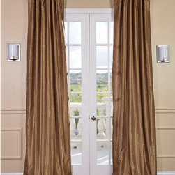 Half Price Drapes - Flax Gold Vintage Textured Faux Dupioni Silk Single Panel Curtain, 50 X 84 - - Exquisite and luxurious, Faux Silk Dupioni curtains in Flax Gold will make even the most casual room exude elegance. Warm gold tones make this hue stand out from the crowd. Our Faux Silk Dupioni curtains have a slight sheen that mimics the finest textured Dupioni silk. These curtains bring the look of luxury without the cost or high-maintenance care. Built-in are two header designs within a single panel: attached back tabs for a formal pleated look and traditional pole pockets.   - Single Panel   - 3 Rod Pocket with Back Tab   - Pole Pocket with Back Tabs   - Dry clean   - 100% Polyester Dupioni Fabric   - Lined with a cotton blend material  - 50x84   - Imported   - Gold Half Price Drapes - PDCH-KBS8-84