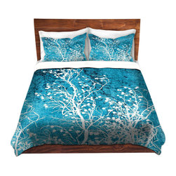 DiaNoche Designs - Duvet Cover Microfiber by Iris Lehnhardt - Silhouettes Cyan - Super lightweight and extremely soft Premium Microfiber Duvet Cover in sizes Twin, Queen, King.  This duvet is designed to wash upon arrival for maximum softness.   Each duvet starts by looming the fabric and cutting to the size ordered.  The Image is printed and your Duvet Cover is meticulously sewn together with ties in each corner and a hidden zip closure.  All in the USA!!  Poly top with a Cotton Poly underside.  Dye Sublimation printing permanently adheres the ink to the material for long life and durability. Printed top, cream colored bottom, Machine Washable, Product may vary slightly from image.