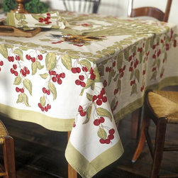 None - Cherry Red/ Green Rectangular Cotton Tablecloth - Add a touch of whimsy to your dining space with this Couleur Nature rectangle tablecloth. Made from 100 percent cotton,this machine washable piece features a fun red-and-green cherry print against a stark white background.