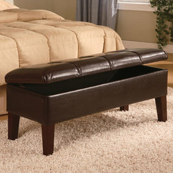 Coaster - Transitional Deep Brown Bench in Deep Brown - Matching storage bench for Headboard 300357Q.