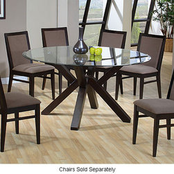 None - Context Dining Table - This elegant glass top dining table features rubberwood legs, making it durable for years to come. The glass top gives an elegant look to any dining room and makes it suitable for many types of decor. Matching chairs are also available.