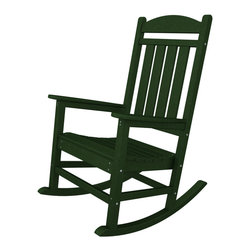 Polywood - Eco-friendly Presidential Rocker in Green - While your aspirations may never lead you to the Oval Office, you'll feel just as important when relaxing in the stately Polywood Eco-friendly Presidential Rocker.