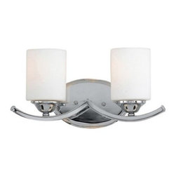 Quoizel Ellis EI8602C Bath Fixture - 15.5W in. - Polished Chrome - Match your Jack and Jill bathroom sink with the double lights of the Quoizel Ellis EI8602C Bath Fixture - 15.5W in. - Polished Chrome. Two steel scallops support two white, cylindrical glass shades, each with a 100-watt medium base bulb inside. It's finished in polished chrome for a clean sheen. The body is constructed of steel for durability.About Quoizel LightingLocated in Charleston, South Carolina, Quoizel Lighting has been designing timeless lighting fixtures and home accessories since 1930. They offer a distinctive line of over 1,000 styles, including chandeliers, lamps, and hanging pendants. Quoizel Lighting is the perfect way to add an inviting atmosphere to any area in your home, both indoors and out.