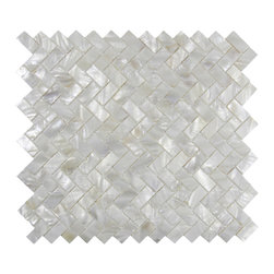 CNK Tile - White Herringbone Pearl Shell Tile - Our beautiful Mother of Pearl   tile in iridescence white and natural tones is on a mesh backing for   easy installations in many applications.