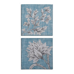 Uttermost - Teal Florals Art Set of 2 - Frameless, hand painted artwork on canvas that has been stretched and attached to wooden stretching bars. Due to the handcrafted nature of this artwork, each piece may have subtle differences.
