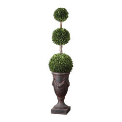 Uttermost - Uttermost Preserved Boxwood Triple Topiary Floor Vase - Towering on natural dragon willow branches in an aged black urn with rust brown wash. Preserved while freshly picked, natural evergreen foliage looks and feels like living boxwood tree.