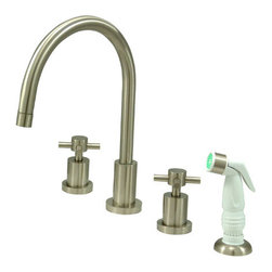 "Kingston Brass - Double Handle Widespread Kitchen Faucet with Non-Metallic Sprayer - The Concord look features state-of-the-art glamour with its line of lavatory and kitchen faucets. This double handle widespread kitchen faucet features a long C-spout and cylindrical designs adopted from the Concord collection. A non-metallic sprayer is included to provide a thorough washing experience--all constructed in high quality brass for that shiny reflective appearance. A ten year limited warranty is provided to the original consumer as well.; Plastic Sprayer Included; 1/4 Turn Ceramic Disk Cartridge; Concord Cross Handles; 8"" Spout Projection with a 6-3/8"" spout clearance; 4 Hole Installation; Material: Brass; Finish: Satin Nickel Finish; Collection: Concord"