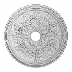 Renovators Supply - Ceiling Medallions White Urethane Ceiling Medallion 21'' Dia - Ceiling Medallions: Made of virtually indestructible  high-density  urethane our medallions are cast from  steel molds  making them the highest quality on the market. Steel molds provide a higher quality result for  pattern consistency, design clarity & overall strength & durability.  Lightweight they are  easily installed  with no special skills. Unlike plaster or wood urethane is resistant to  cracking, warping or peeling.   Factory-primed  these medallions are ready for finishing. NOTE: Images medallions with a center opening may not be represented to scale, appearing larger or smaller than they actually are.