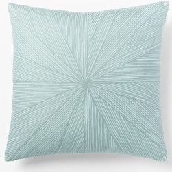 Embroidered Starburst Pillow Cover, Light Pool - To break up the pink and purple on the beds in a recent twin girls' room design, I added a minty green pillow with a subtle pattern.