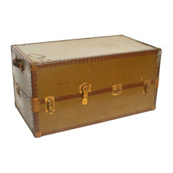 Pre-owned Vintage Wardrobe Trunk Chest - Vintage high quality wardrobe trunk chest with one side being a closet and opposite side having large storage drawers. Good working order with brass hardware and constructed of vulcanized fiber material. Leather handles intact. Wardrobe hangers included. Estimated to be circa 1900.