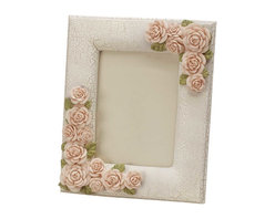 """Renovators Supply - Picture Frames Beige Porcelain/Ceramic Pink Floral Picture Frame - The Camellia Rose Frame is part of a lovely collection of elegant boudoir accessories fit for a queen. Made of porcelain, ceramic and resin in subtle shades of beige, gold and pink, with a crackle finish. Measures 8"""" wide x 10"""" high."""