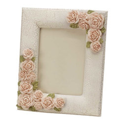 "Renovators Supply - Picture Frames Beige Porcelain/Ceramic Pink Floral Picture Frame - The Camellia Rose Frame is part of a lovely collection of elegant boudoir accessories fit for a queen. Made of porcelain, ceramic and resin in subtle shades of beige, gold and pink, with a crackle finish. Measures 8"" wide x 10"" high."
