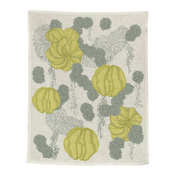 makelike design - Tea Towel  Succulent, Grey - This four-color tea towel is hand-screen-printed using water-based inks on 100% European linen.