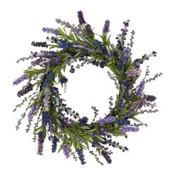 Nearly Natural - 20 Inch Lavender Wreath - Wispy and wild, these charming lavenders look like they re ready to dance in the summer breeze. But they'll have to settle for delighting you and your guests from your wall, because that s where this beautiful wreath is going. This lavender wreath is perfect for those who like more of a wild look, but also prefer a little circular symmetry. Makes an ideal gift well.