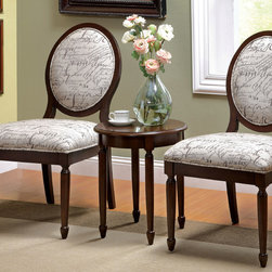 Ella Graffiti Accent Chair Set - Any room with this set to change, and will become even more luxurious and elegant. Set includes: Two accent chairs and one accent table. These set are perfectly combine traditional classic and modern style.