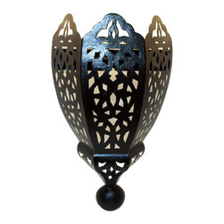 Badia Design Inc. - Moroccan Rustic Iron Wall Sconce - Hand Carved from Wrought Iron